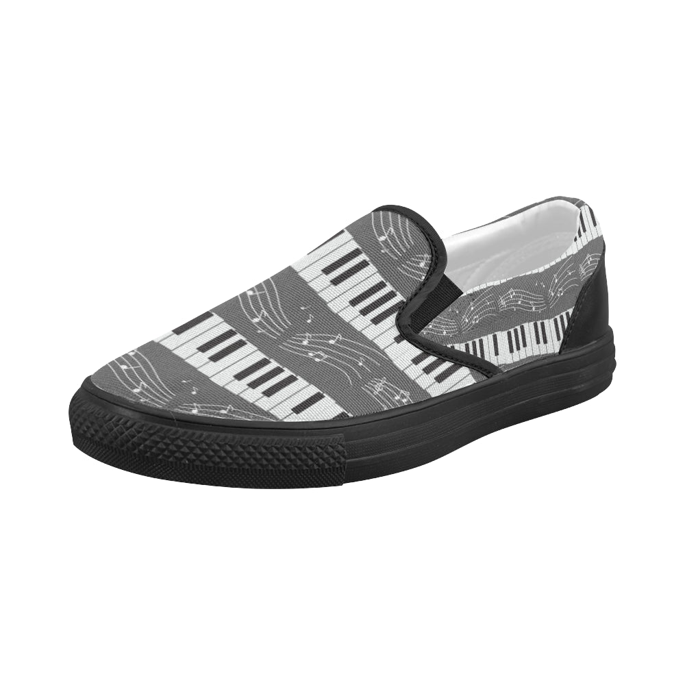 Piano Pattern Black Women's Slip-on Canvas Shoes - TeeAmazing