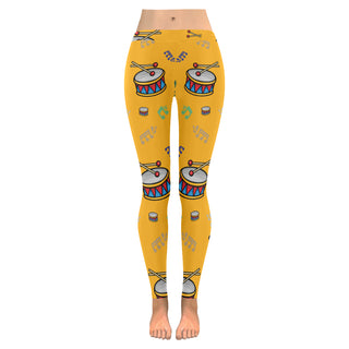 Bass Drum Pattern Low Rise Leggings (Invisible Stitch) (Model L05) - TeeAmazing