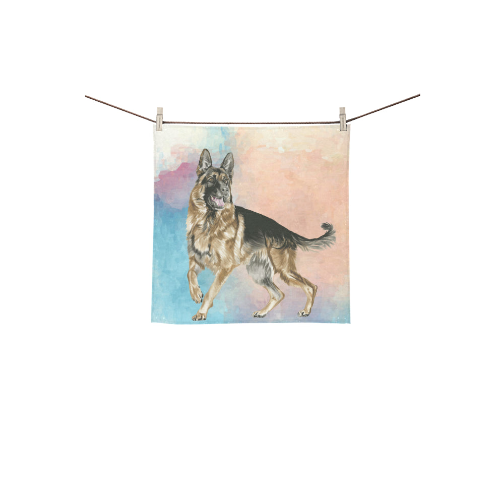 German Shepherd Water Colour No.1 Square Towel 13x13 - TeeAmazing