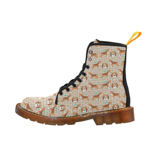 Beagle Pattern Black Martin Boots For Women - TeeAmazing