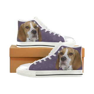 English Pointer Dog White Women's Classic High Top Canvas Shoes (Model 017) - TeeAmazing