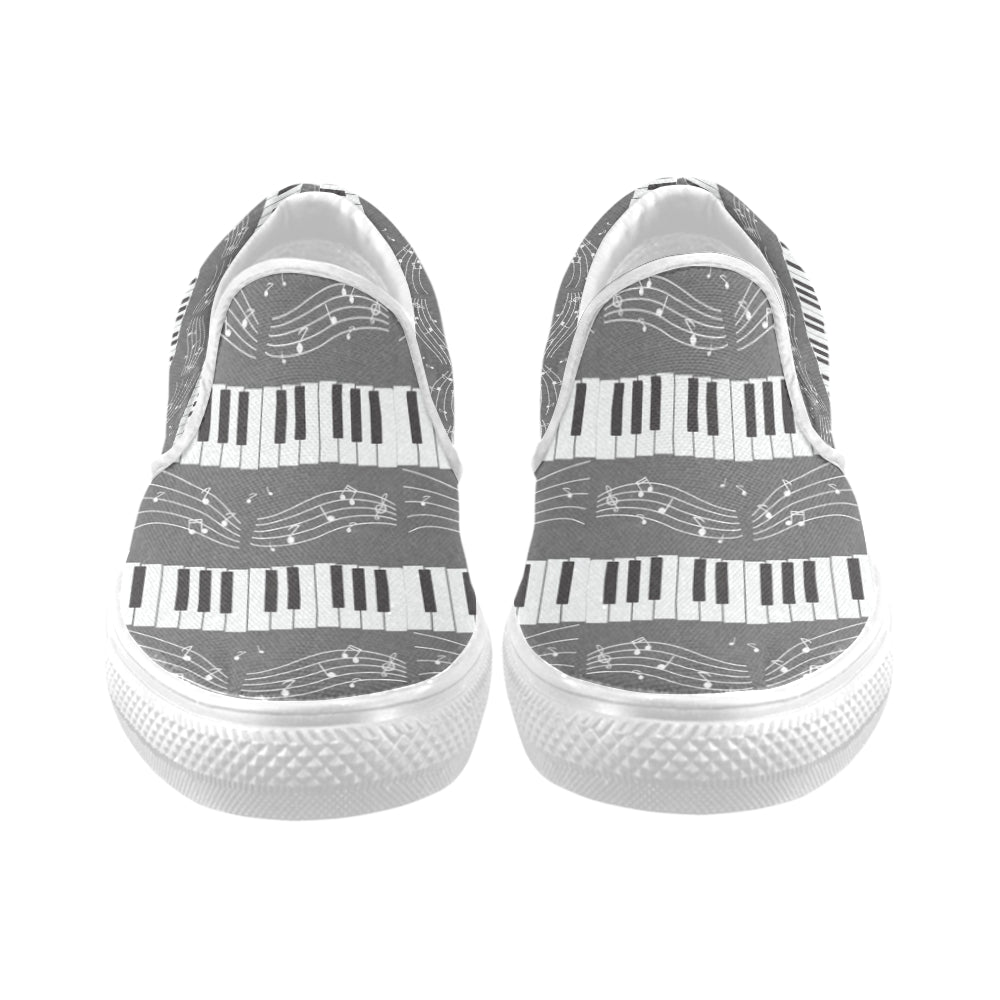 Piano Pattern White Women's Slip-on Canvas Shoes - TeeAmazing