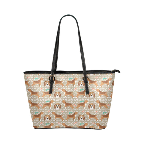 Beagle Pattern Leather Tote Bag/Small (Model 1651) - TeeAmazing