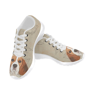 Beagle Lover White Sneakers for Men - TeeAmazing