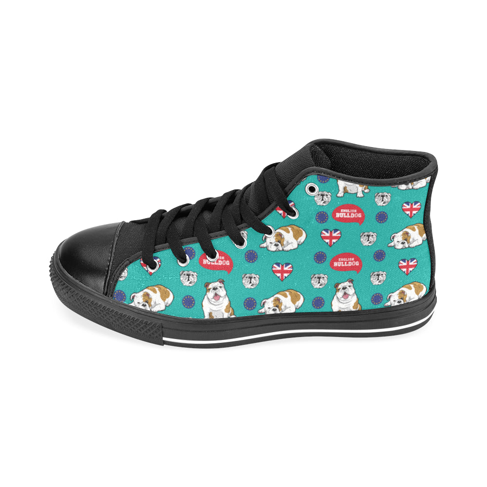 English Bulldog Black Men's Classic High Top Canvas Shoes /Large Size - TeeAmazing