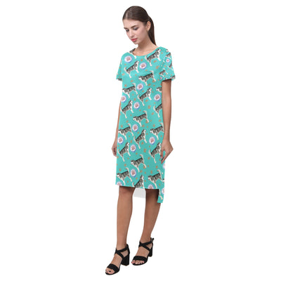 Alaskan Malamute Water Colour Pattern No.1 Short Sleeves Casual Dress - TeeAmazing