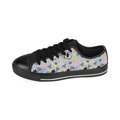 American Staffordshire Terrier Pattern Black Canvas Women's Shoes/Large Size - TeeAmazing