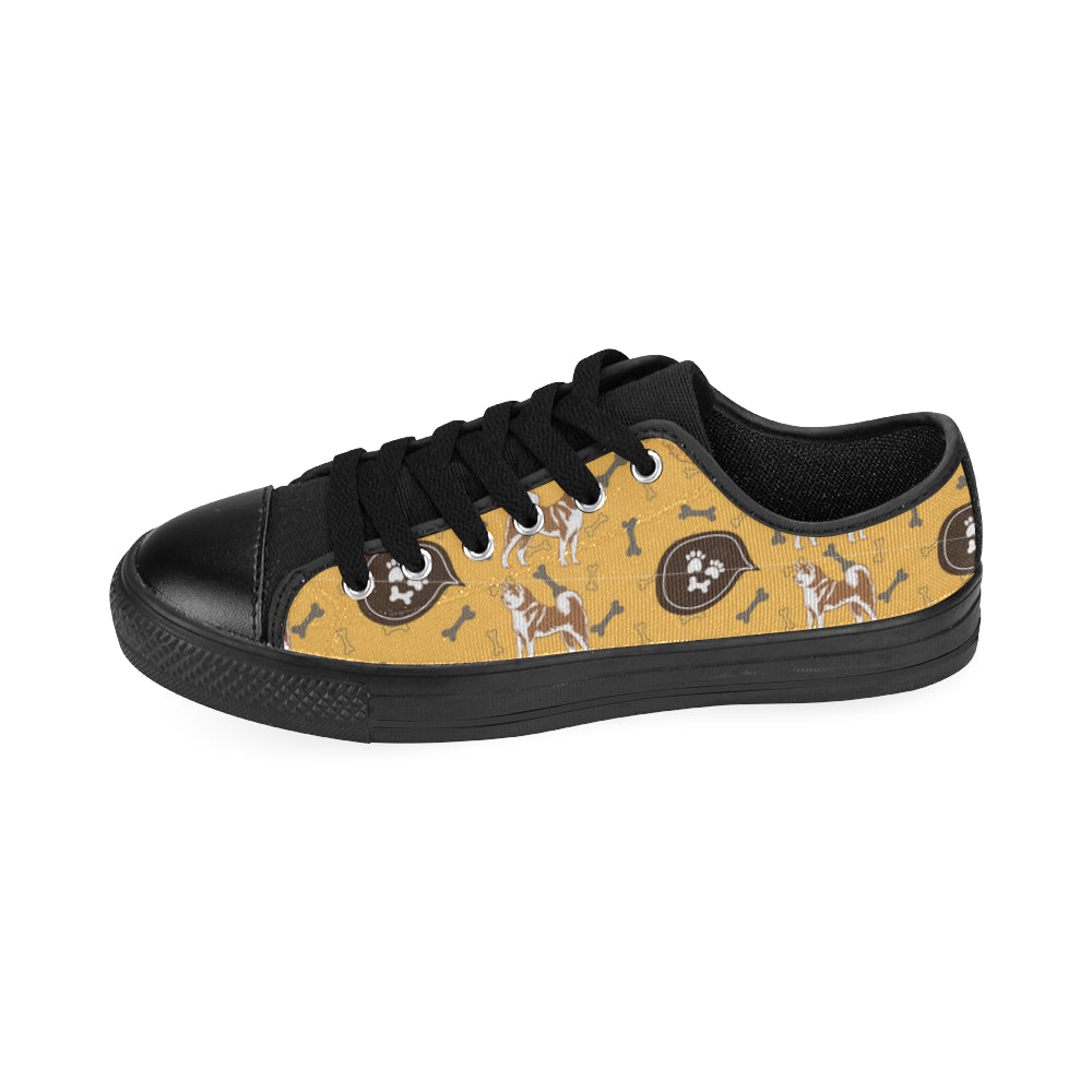 Akita Pattern Black Low Top Canvas Shoes for Kid (Model 018) - TeeAmazing
