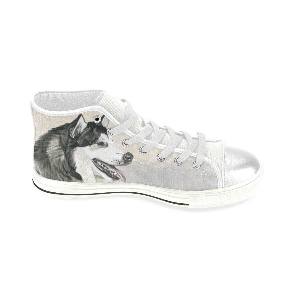 Alaskan Malamute Water Colour White High Top Canvas Women's Shoes/Large Size (Model 017) - TeeAmazing