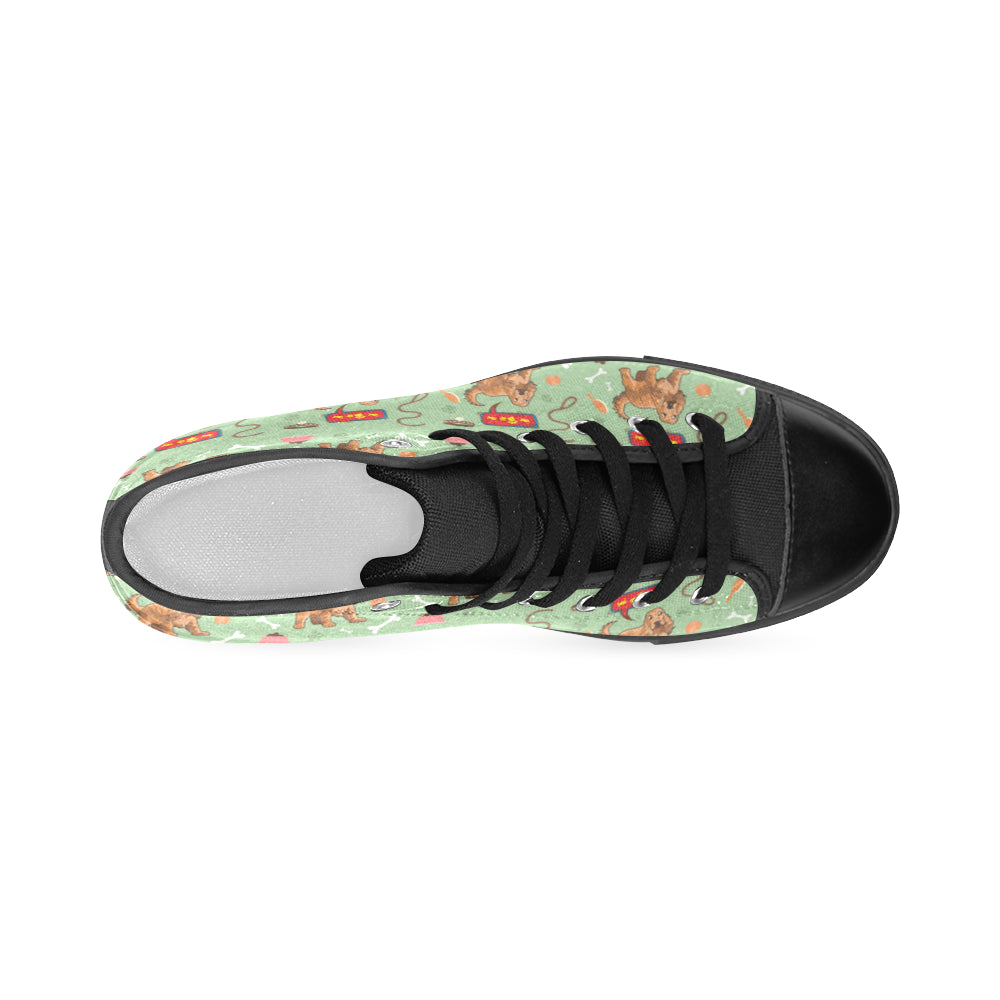American Cocker Spaniel Pattern Black Men's Classic High Top Canvas Shoes - TeeAmazing