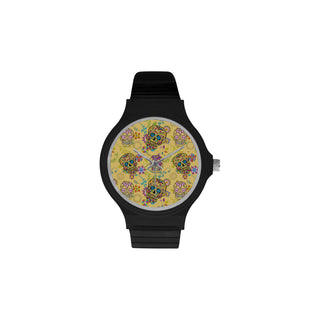 Sugar Skull Unisex Round Plastic Watch(Model 302) - TeeAmazing