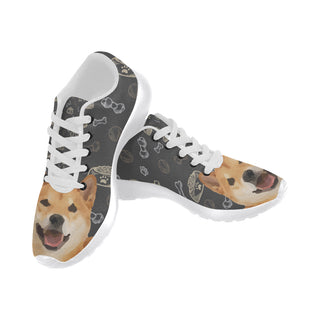 Shiba Inu Dog White Sneakers for Women - TeeAmazing