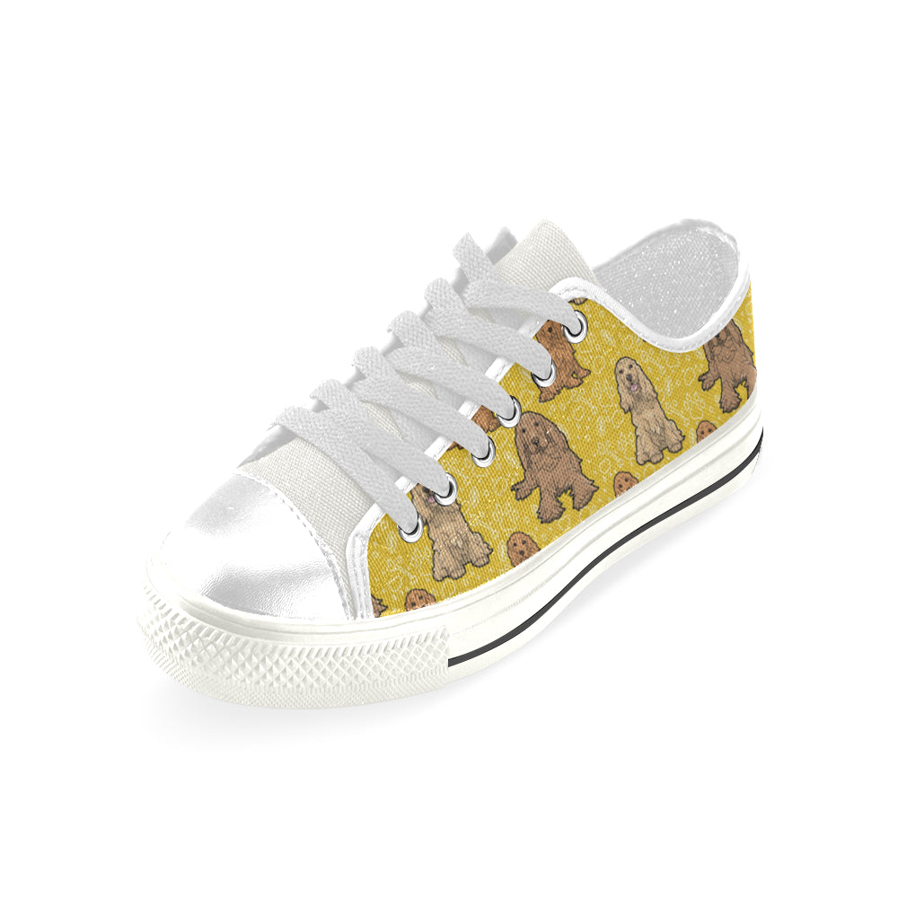 Cocker Spaniel White Men's Classic Canvas Shoes - TeeAmazing