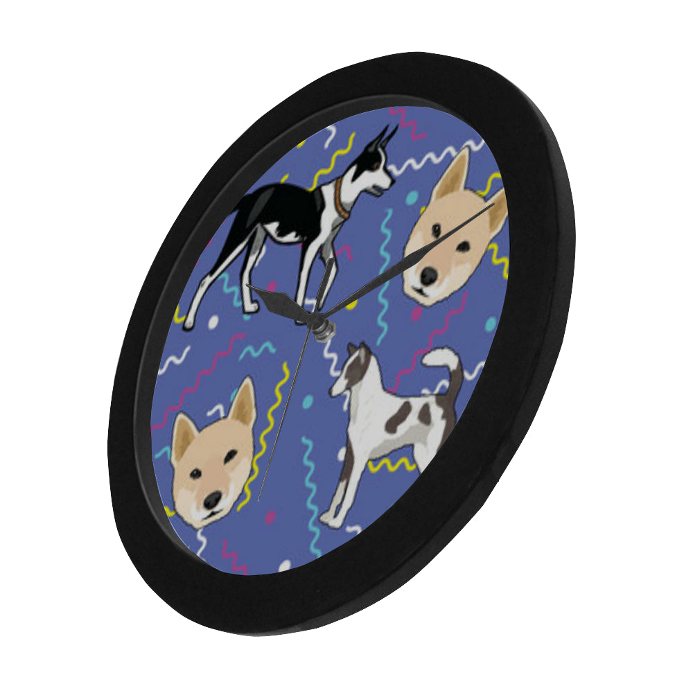 Canaan Dog Black Circular Plastic Wall clock - TeeAmazing