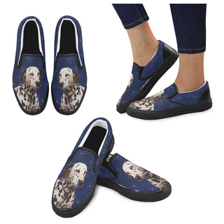 Dalmatian Lover Black Women's Slip-on Canvas Shoes - TeeAmazing