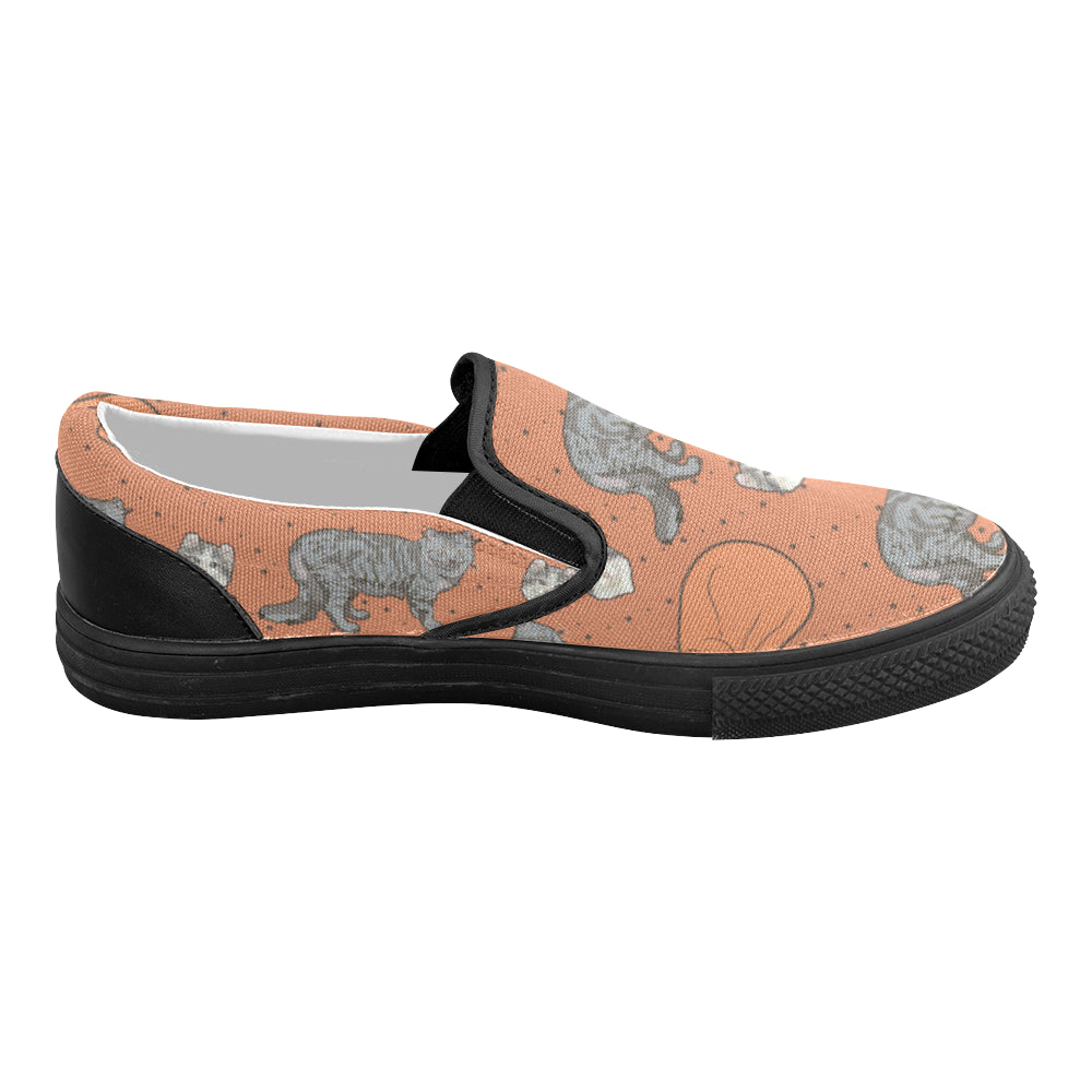 American Curl Black Women's Slip-on Canvas Shoes (Model 019) - TeeAmazing
