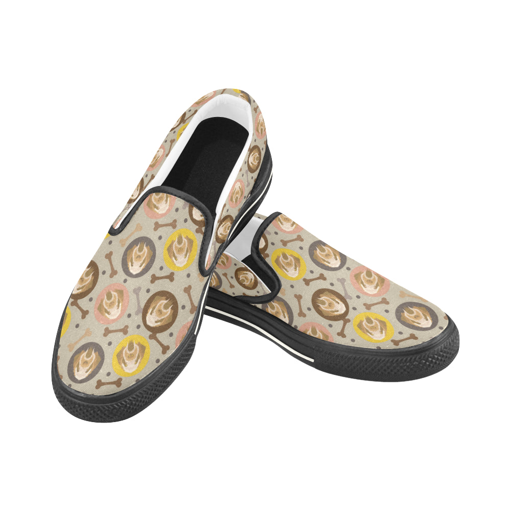 Spinone Italiano Black Women's Slip-on Canvas Shoes/Large Size (Model 019) - TeeAmazing