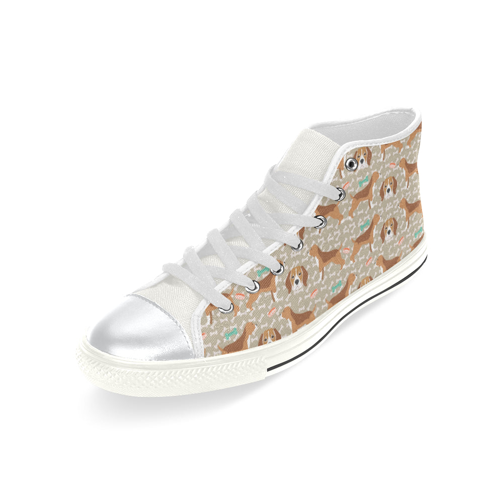 Beagle Pattern White High Top Canvas Women's Shoes/Large Size - TeeAmazing