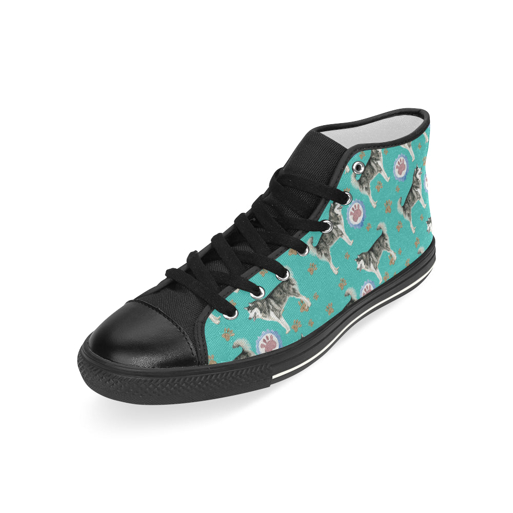 Alaskan Malamute Water Colour Pattern No.1 Black Men's Classic High Top Canvas Shoes - TeeAmazing