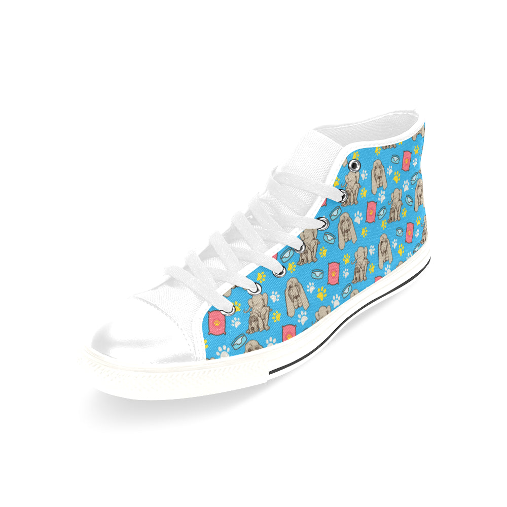 Bloodhound Pattern White Men's Classic High Top Canvas Shoes /Large Size - TeeAmazing