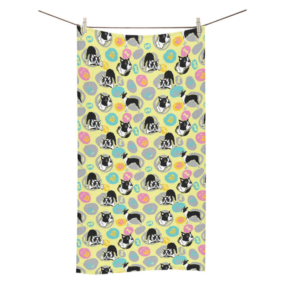 "Boston Terrier Pattern Bath Towel 30""x56"" - TeeAmazing"
