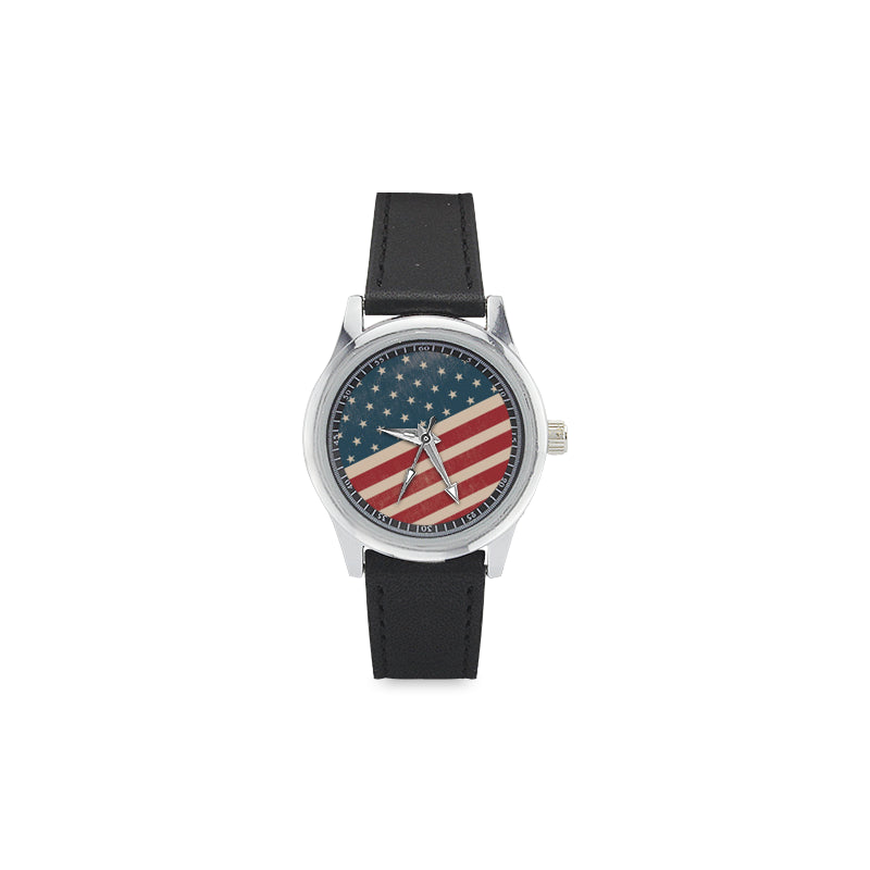 4th July V2 Kid's Stainless Steel Leather Strap Watch - TeeAmazing