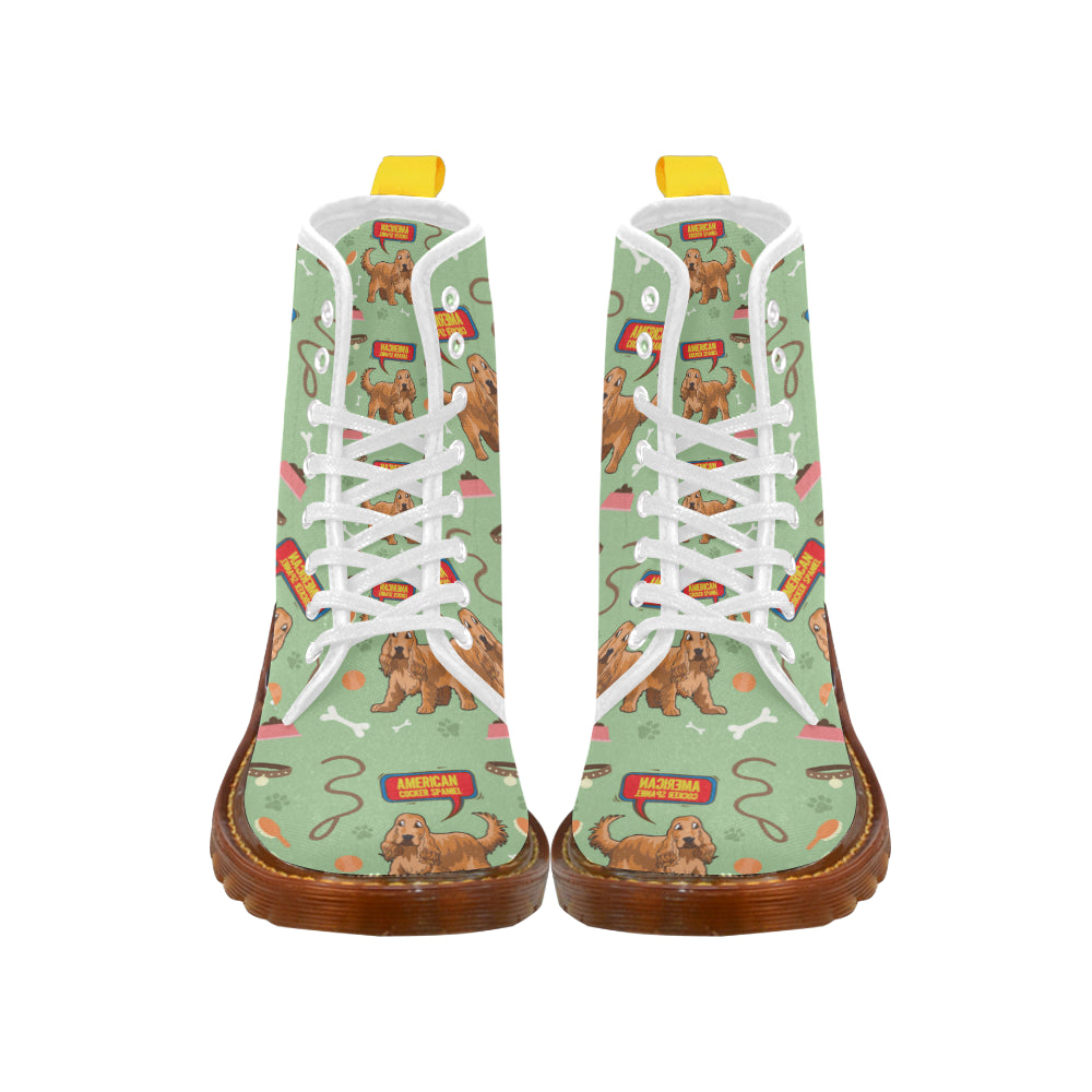 American Cocker Spaniel Pattern White Boots For Women - TeeAmazing