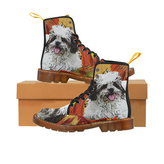 Lhasa Apso Black Martin Boots For Women Model 1203H - TeeAmazing