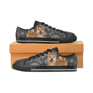 Shiba Inu Dog Black Canvas Women's Shoes/Large Size - TeeAmazing