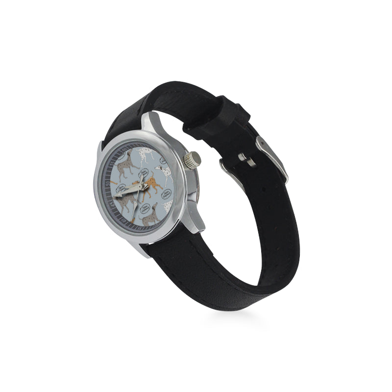 Italian Greyhound Pattern Kid's Stainless Steel Leather Strap Watch - TeeAmazing