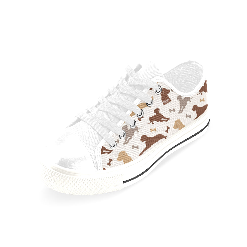 Labrador Retriever Pattern White Men's Classic Canvas Shoes/Large Size - TeeAmazing