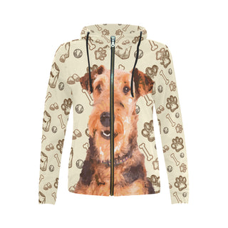 Airedale Terrier All Over Print Full Zip Hoodie for Women - TeeAmazing