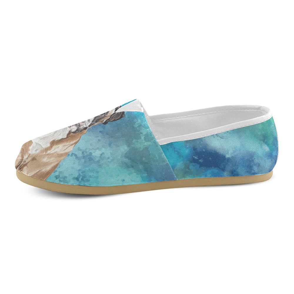 Boxer Water Colour Women's Casual Shoes - TeeAmazing