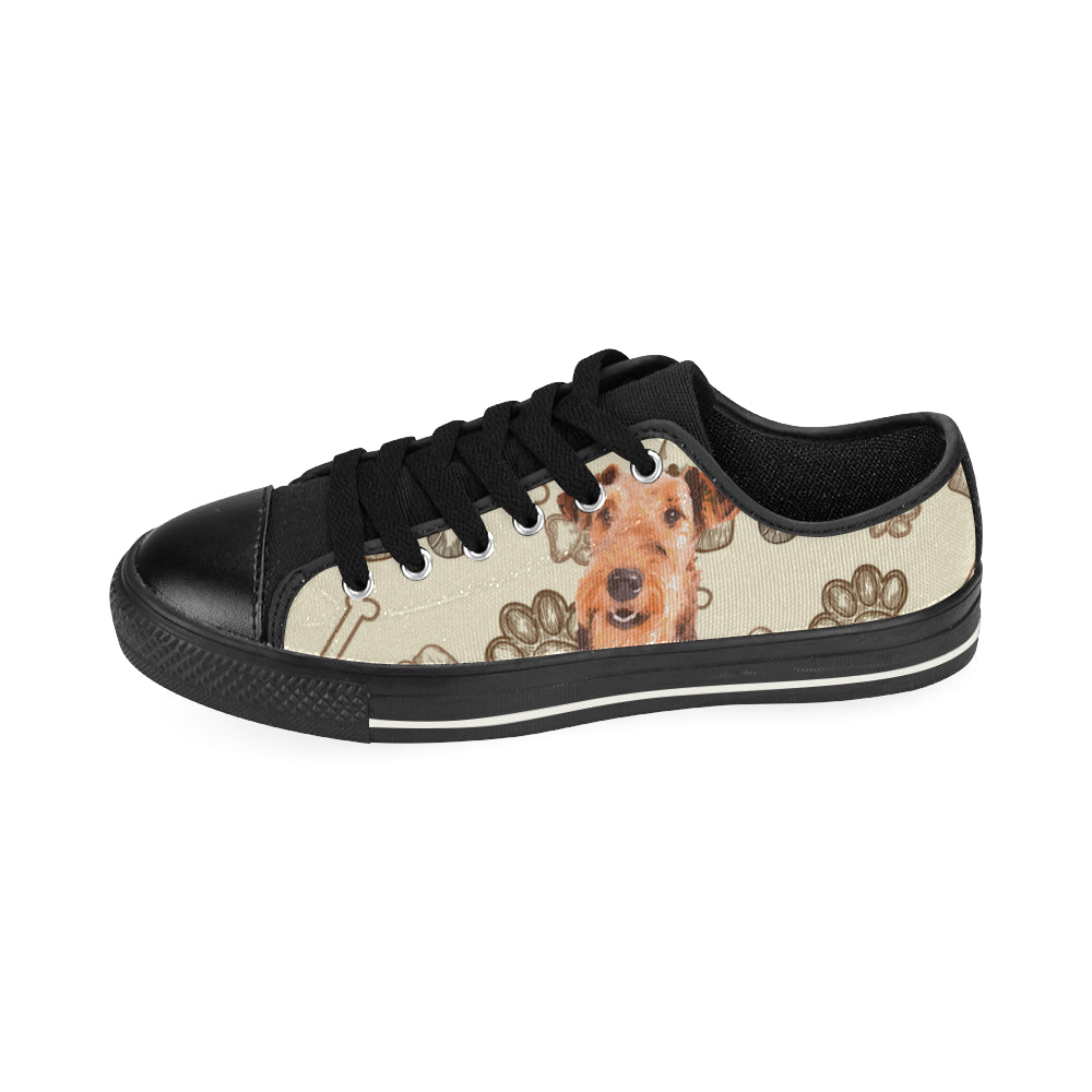 Airedale Terrier Black Men's Classic Canvas Shoes - TeeAmazing