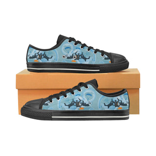Sky Diving Black Low Top Canvas Shoes for Kid - TeeAmazing