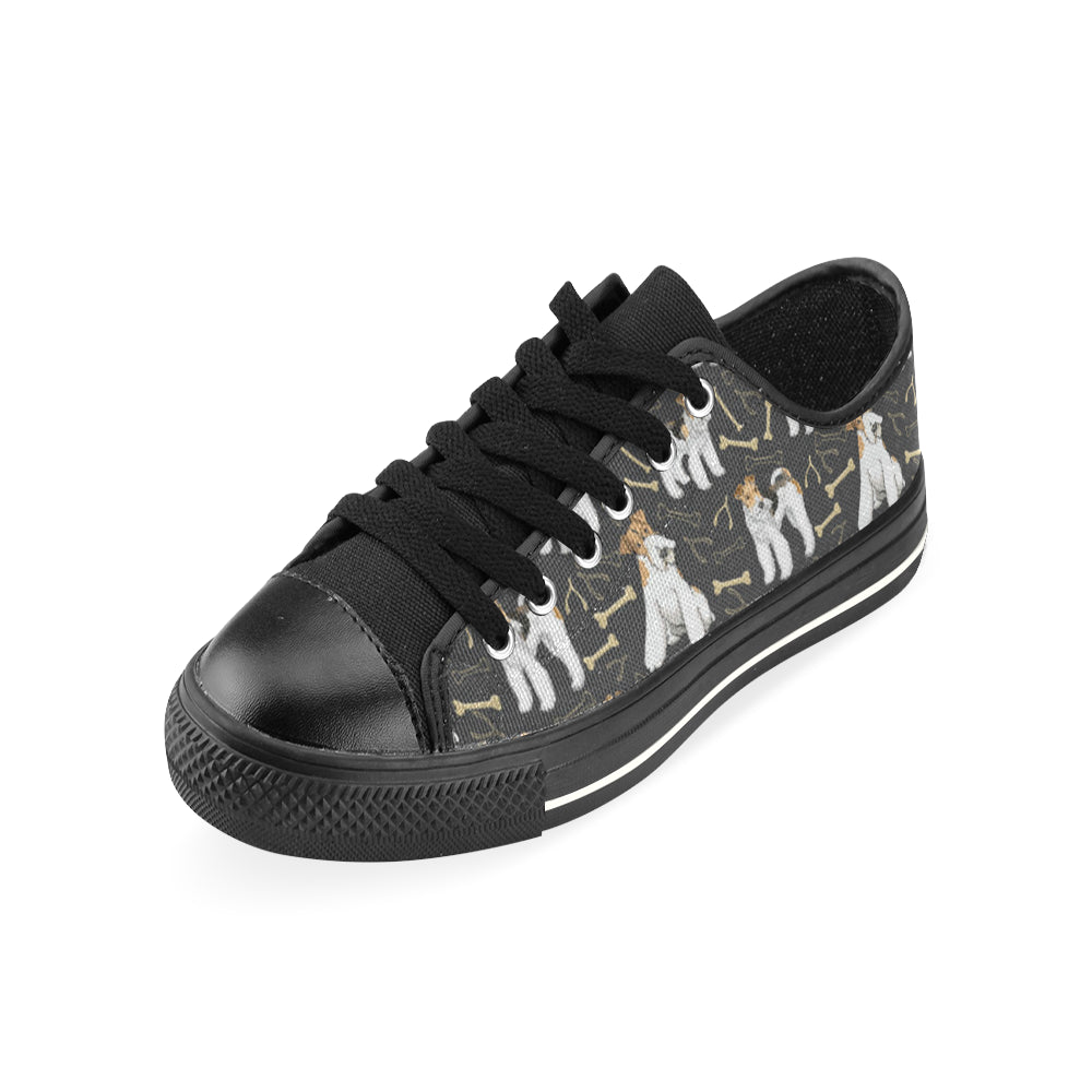 Wire Hair Fox Terrier Black Low Top Canvas Shoes for Kid - TeeAmazing