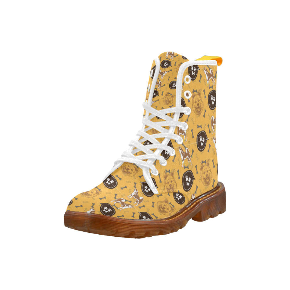 Akita Pattern White Boots For Men - TeeAmazing