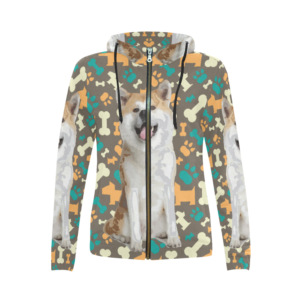 Akita All Over Print Full Zip Hoodie for Women - TeeAmazing
