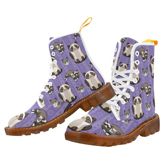 Snowshoe Cat White Boots For Women - TeeAmazing