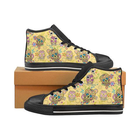 Sugar Skull Black Men's Classic High Top Canvas Shoes /Large Size (Model 017) - TeeAmazing