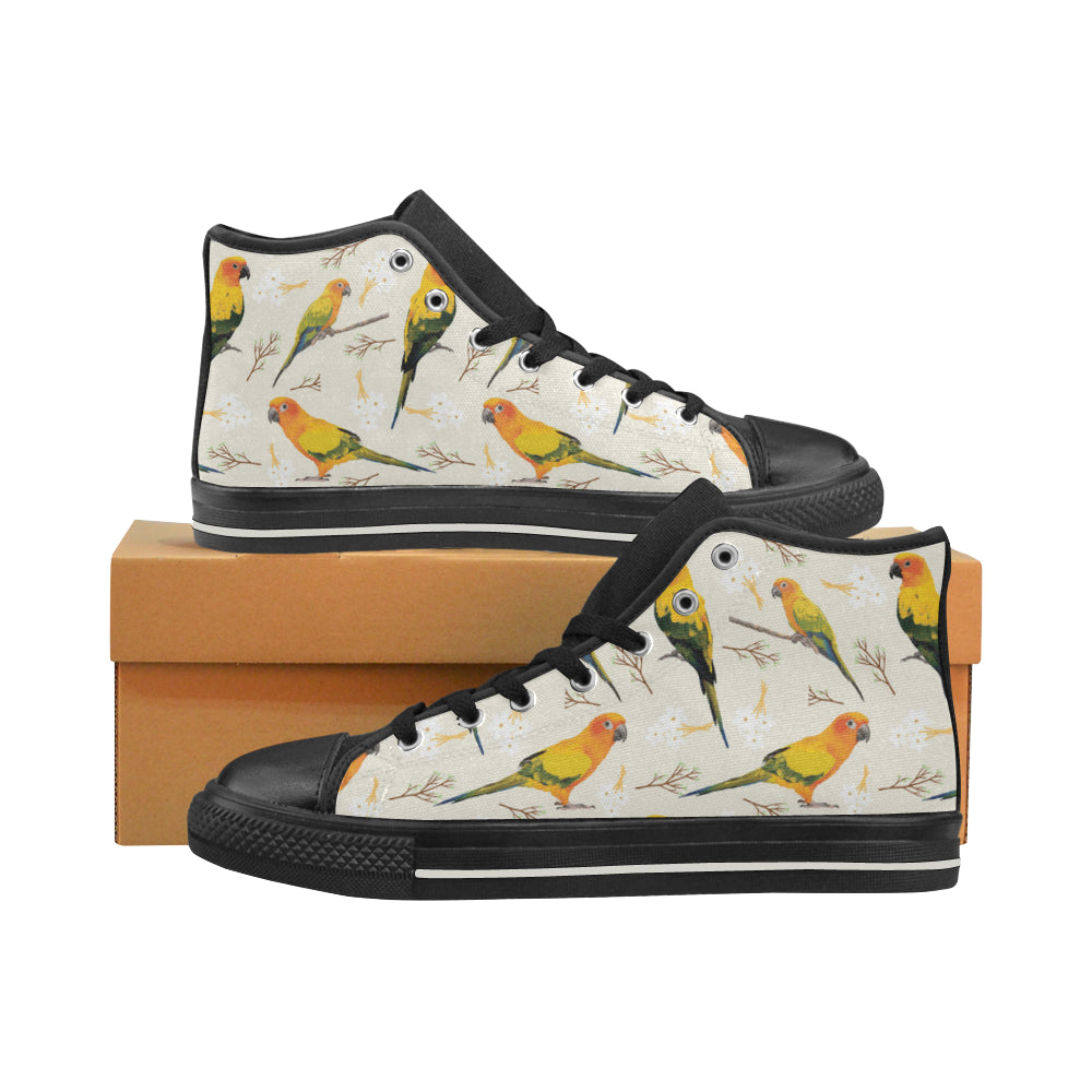 Conures Black Women's Classic High Top Canvas Shoes - TeeAmazing