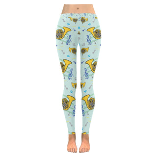 French Horn Pattern Low Rise Leggings (Invisible Stitch) (Model L05) - TeeAmazing