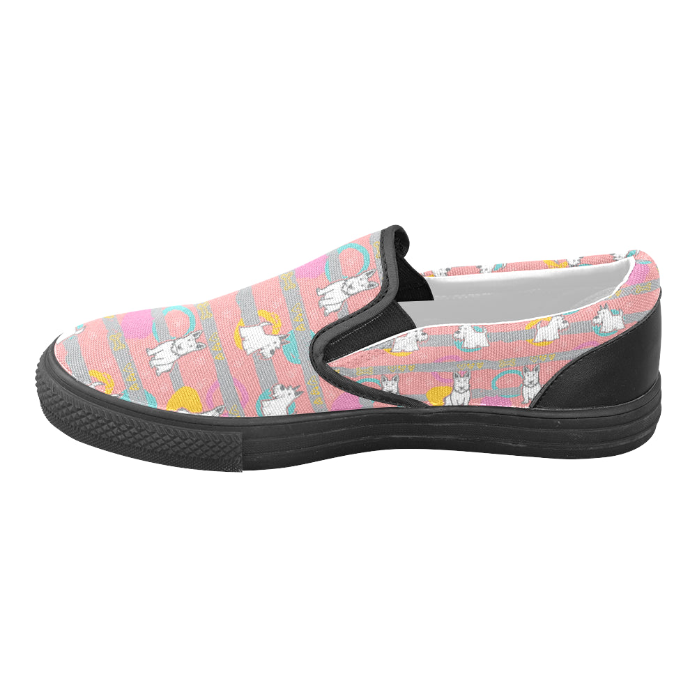 Scottish Terrier Pattern Black Women's Unusual Slip-on Canvas Shoes (Model 019) - TeeAmazing