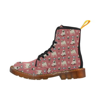 Pug Pattern Black Martin Boots For Women - TeeAmazing