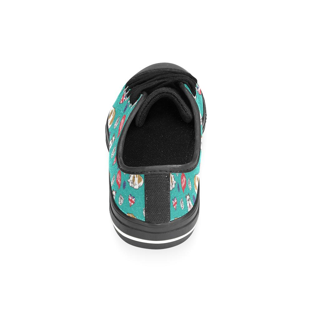 English Bulldog Black Canvas Women's Shoes (Large Size) - TeeAmazing