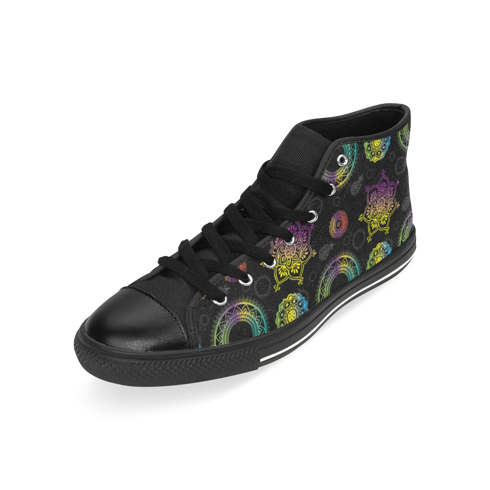 Chakra Black High Top Canvas Women's Shoes/Large Size - TeeAmazing