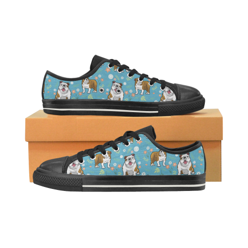 English Bulldog Flower Black Canvas Women's Shoes/Large Size (Model 018) - TeeAmazing