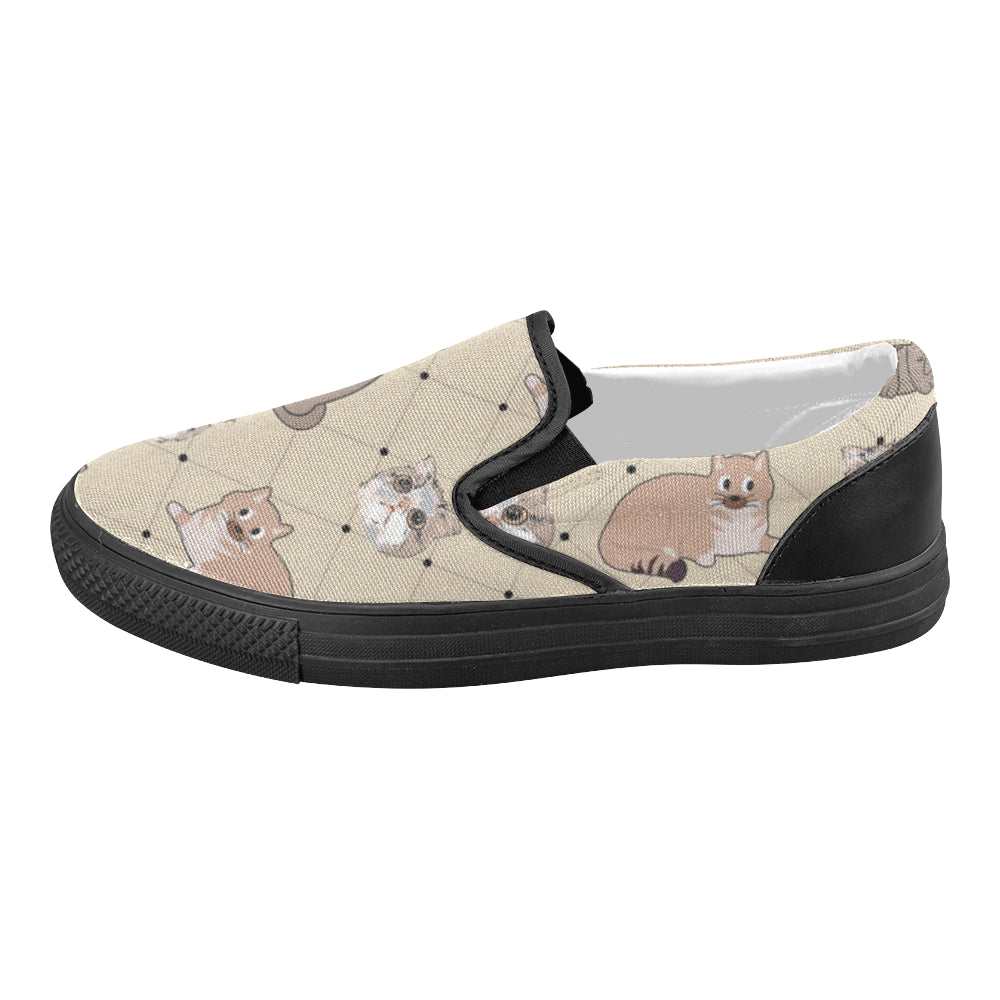 Exotic Shorthair Black Women's Slip-on Canvas Shoes (Model 019) - TeeAmazing