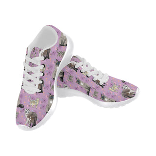 Balinese Cat White Sneakers for Women - TeeAmazing