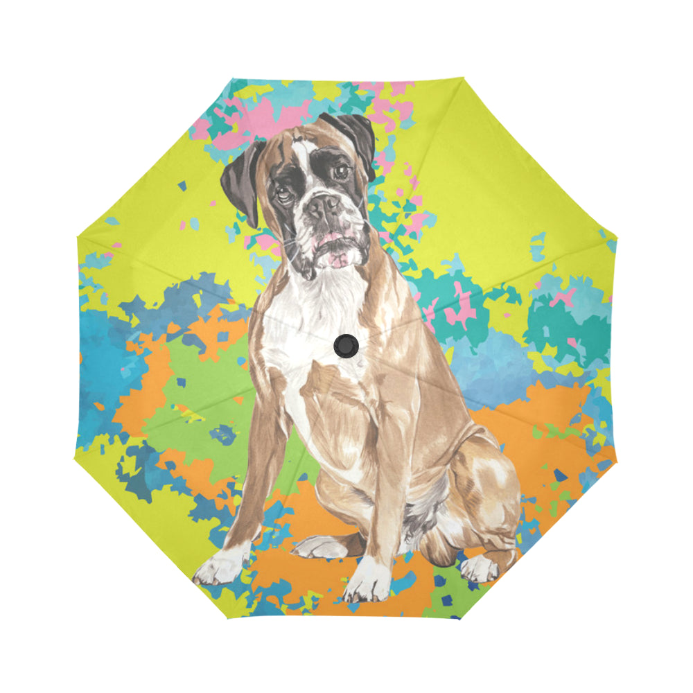 Boxer Water Colour No.2 Auto-Foldable Umbrella - TeeAmazing